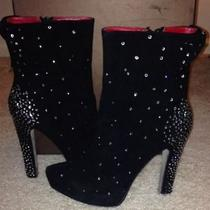 Bebe Black Suede Rhinestone Ankle Boots Heel 7 Red Leather Liner  Rare Unique Photo