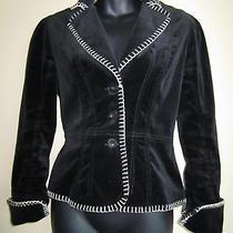 Bebe Black Velvet Jacket Size Small Photo