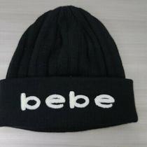 Bebe Black White Logo Women's Knit Beanie Hat Snow Ski Winter One Size Photo