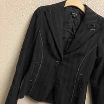 Bebe Blazer Womens 6 Black Gray Pink Lining v Neck Light Lining Button Closure Photo