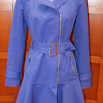 Bebe Blue Belted Fluted Hemline Lined Trench Raincoat Jacket Coat M Photo