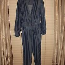 Bebe Blue Chambray Button Down Long Sleeve Jumpsuit 0 Photo