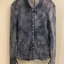 Bebe Blue Metallic Button Down Blouse Size S Perfect With Jeans Photo