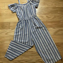 Bebe Blue White Striped Jumpsuit Girls Short Sleeves Off Shoulder Small 7/8 Photo