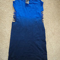 Bebe Bodycon Fitted Very Sexy Destructed Sides See Through Ombre Blue Dress Ps  Photo