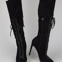 Bebe Boots Black Lace Up Corset Style Knee High Shoes 6.5 6 1/2 Last 1 Photo