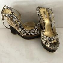 Bebe Brown Snakeskin Wedges Sz 8 Caged Platform Heels Sandals Photo