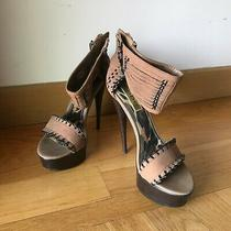 Bebe Brown Vegan Leather Heeled Sandals W Woven Ankle  Toe Strap Details Size 6 Photo