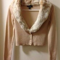 Bebe Cashmere Sweater With Rabbit Fur Collar Small Photo