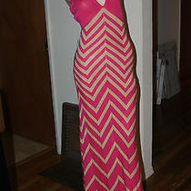 Bebe Chevron Stripe Halter Dress Size M Photo