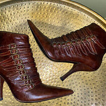 Bebe Cognac Brown Leather Strappy Pointy Toe Booties Boots 7.5 Photo