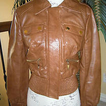 Bebe Cognac Color Bomber Jacket Sz. M Photo