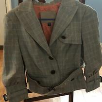 Bebe Collection Women's Jacket Blazer Size 4 Euc Tan Plaid Coral Photo