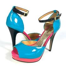 Bebe Color Block Turquoise Pink Orange Patent Platform Heels Size 7 Womens Photo