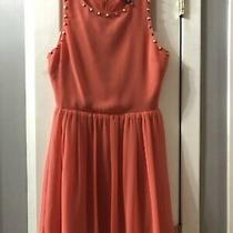 Bebe Coral Dress With Gold Rock Stud Detail Size 4 Photo