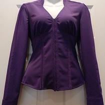 Bebe Corset Front Blouse in Purple Nwt Xs Photo