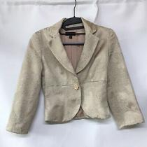 Bebe Cream Textured Cropped Blazer Jacket Size 0 Flower Buttons Flower Print Photo