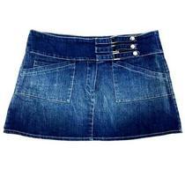 Bebe Daly Women Size S Blue Jean Mini Skirt Metal Snap Button Strap 5 Pockets Photo