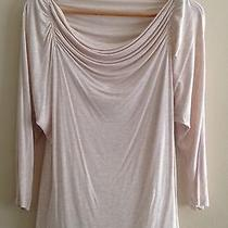 Bebe Draped Blouse Size S Beige Taupe Workwear Career Top Shoulder Ruching Nwot Photo