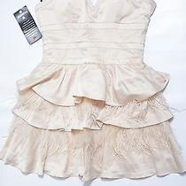 Bebe Dress M Corset Beige Nude Feather Mesh Strapless v Neck Pleated Birthday Photo