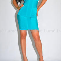 Bebe Dress S 4 6 Bandage Bodycon Aqua Baby Blue Turquoise Top Skirt Club Prom Photo