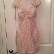 Bebe Dress Sexy Nude Beige Cream Off White Lace v Neck Corset Bustier Size S Photo