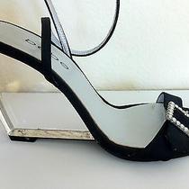 Bebe Evening Shoes Satin Wedge Acrylic Heel Size 7 Photo