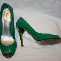 Bebe  Eye Candy Shiny Luscious Delicious Stiletto Green Leather Peep Toe Pumps 8 Photo