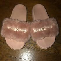 Bebe Faux Fur Blush Baby Pink Bling Slides Size 7 Furiosa Photo
