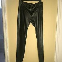 Bebe Faux Leather Black Skinny Leg Wet Look Pants Size S Photo