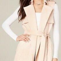 Bebe Faux Suede Trench Coat Vest Soft Pink Blush Size Small Stretchy Fabric Cute Photo
