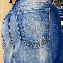 Bebe Frayed Hem Distressed Women's Denim Blue Jean Mini Skirt Size 8  29 Photo