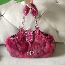 Bebe Fuscia Rabbit Fur Purse Photo