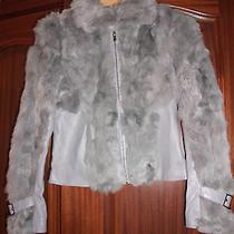 Bebe Genuine Leather/genuine Rabbit Fur Zipped Jacket Sz S Photo