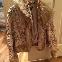 Bebe Genuine Rabbit Fur Zipped Jacket Sz M Photo