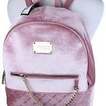 Bebe Gina Light Pink Velvet Velour Backpack Bag Gold Hardware Detail Large Nwt Photo