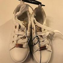 Bebe Girl's Sneakers Shiny Glitter White/gold Size 12 New No Box  Photo