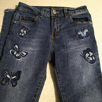 Bebe Girls Butterfly Embroidered Jeans Girls Sz 10 Stretch Frayed Hem  Photo