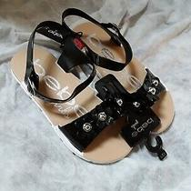Bebe Girls Floral Black Tan Sandals Size 13/1 Nwt Photo