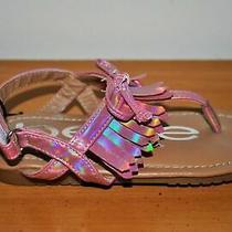 Bebe Girls' Pink Fringe & Bow Hook & Loop Memory Foam Sandals - Size 9 Photo