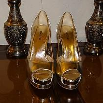 Bebe Gold Platform See-Through Open Toe Heels Photo