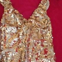 Bebe Gold Sequin Dress Size Xs Photo