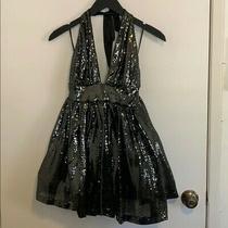 Bebe Gray Sequin Halter Dress in Size M Photo