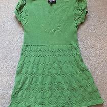 Bebe Green v-Neck Baby Doll Lace Detail Sexy Ribbed Fitted Dress Top Tunic Xs/0 Photo