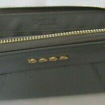 Bebe Grey Clutch Wallet Gold Tone Hardware / Logo / Zip Closure Great Condition Photo