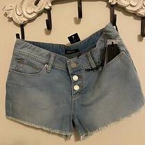 Bebe Hemmed Cut Offs Low Rise Denim Stretch Jean Shorts Size 28 Nwt Photo