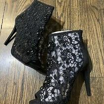Bebe High Heel Black Lace Ankle Open Toe Boots Size 7 Nib Photo