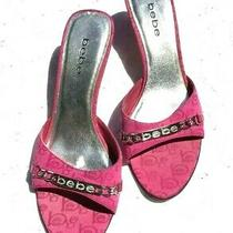 Bebe Hot Pink Logo Fabric Slide Mule W/rhinestone Logo Silver Kitten Heel Sz 9 Photo
