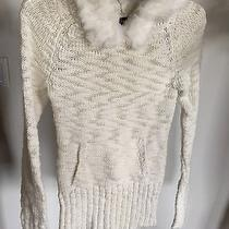 Bebe Ivory Wool Blend Rabbit Fur Hoodie Hooded Sweater S  Photo