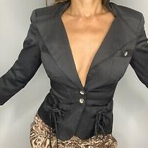 Bebe Jacket Blazer Black Suit Size 00 Top Career Tie Formal Xxs Corset Blouse Photo